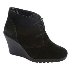 Black Suede Wedge Heel Booties (White Mountain)